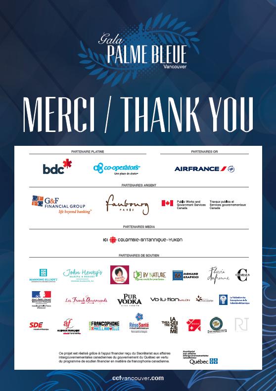 Partenaires et commanditaires Gala Palme Bleue 2016